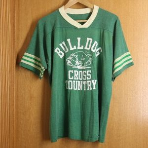 Vintage Green Cross Country Ringer Shirt Sz M/L